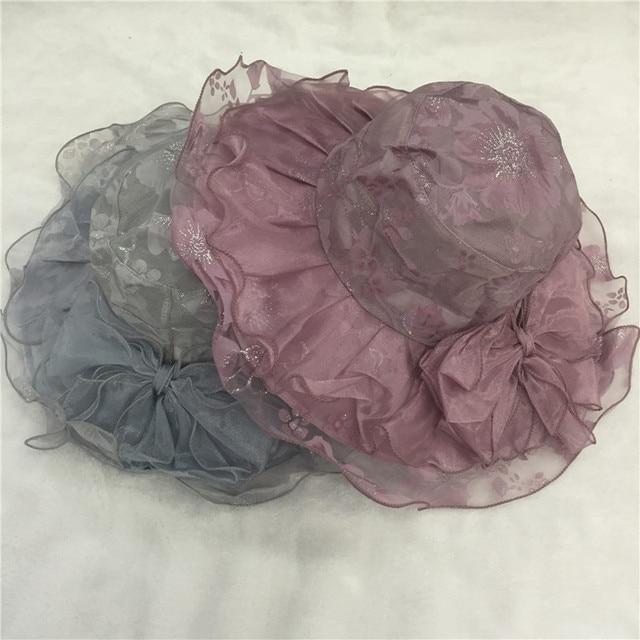 Nueva llegada 2017 de La Vendimia vestidos de kentucky derby bowknot flor del sol Del Verano del sombrero de Ala Ancha Formal para las mujeres sombreros de verano
