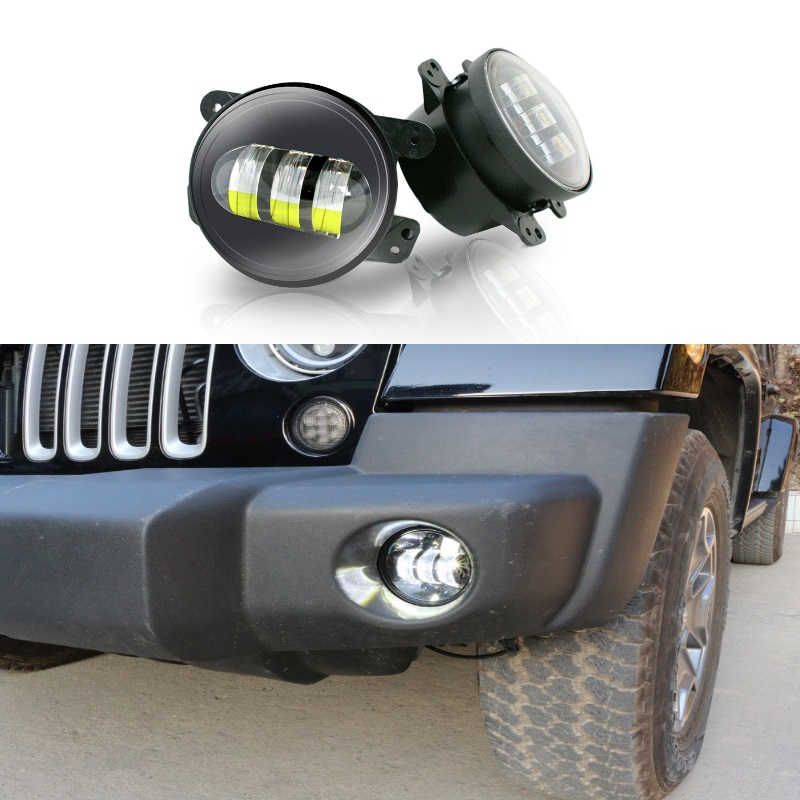2PCS 30W 6000K 4Inch Round LED Fog Lights with White Halo Ring DRL Off Road Fog