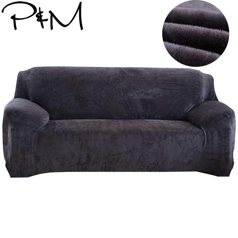 Papa&Mima Solid Stretch Sectional Sofa Covers For Single Two Three Four Seats Soft Flannel Fabric Slipcovers Elastic Couch Cover