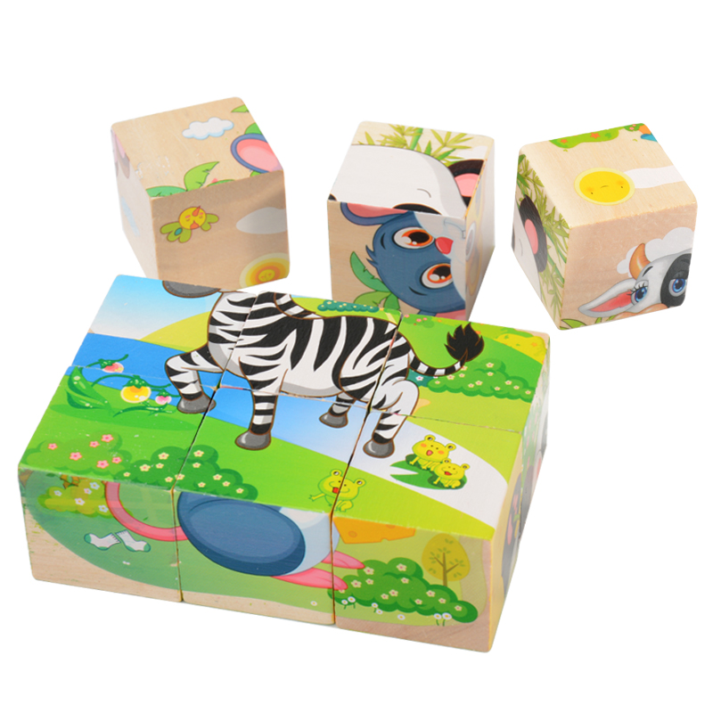 Wooden Six Sides Puzzles With 6PCS Puzzle Children Educational Toy 3D Animal Jigsaw Puzzle animal style alphabet wooden puzzle game intelligent toy 4pcs set
