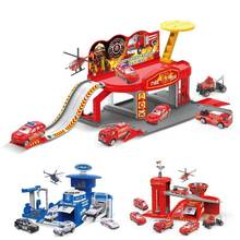 DIY 3D Car Track parking lot Toys police engineering fire truck parking lot model Assemble toys for kids Children Birthday(China)
