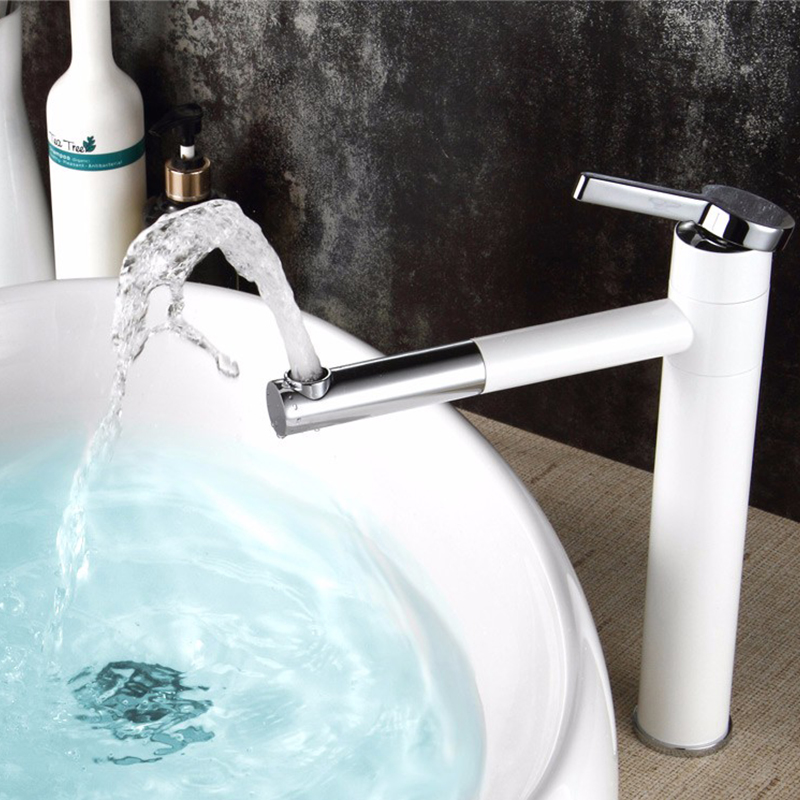 Yanjun comptoir bec pivotant en laiton blanc peinture salle de bain robinet vanité navire éviers mélangeur eau froide et chaude robinet YJ-6679