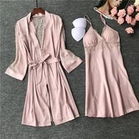 Women Sexy Robe Set Lace Trim 2 Pieces Sleepwear Pink Bride Bridesmaid Wedding Dressing Gown Summer Kimono Bathrobe Nightgown