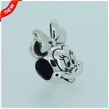 Compatible con Pulseras Pandora Joyería 100% de Plata de ley 925 Minnie Encantos de Plata Auténtica Original de La Moda