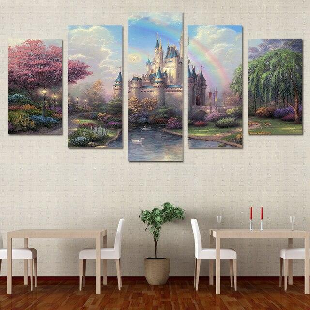 Pices Toile Imprime Cinderellas Chteau Peinture Mur Art Anime