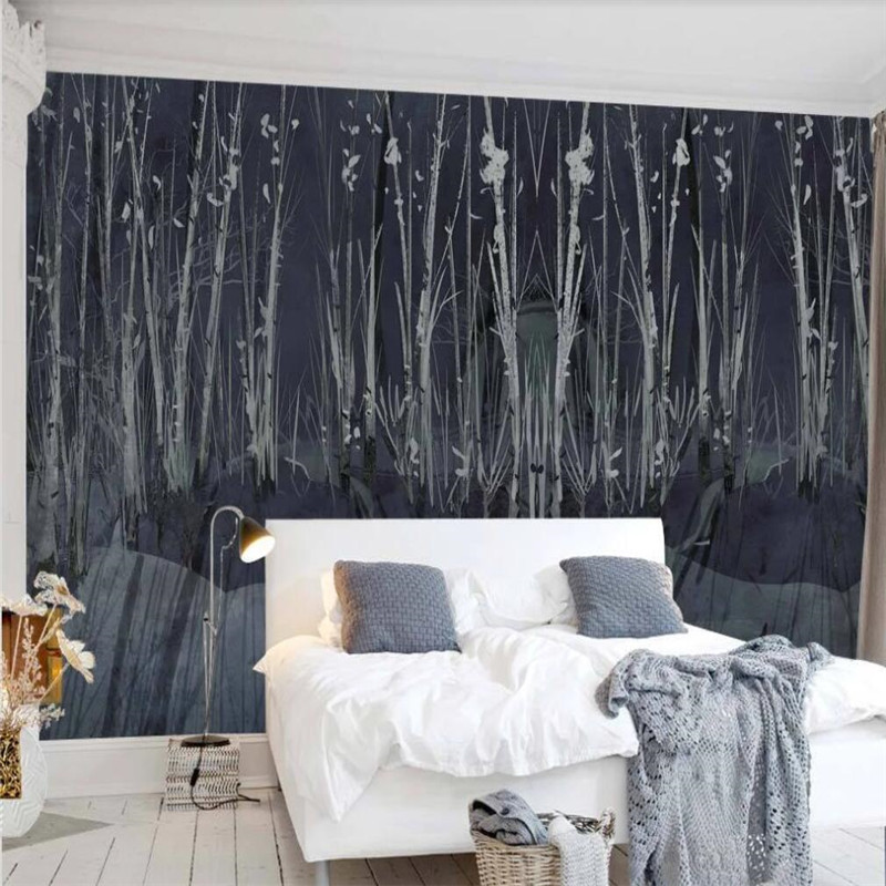 Custom wallpaper tree forest black personality tooling wall decoration waterproof material in Fabric Textile Wallcoverings from Home Improvement
