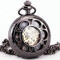 Тд унисекс женские ретро цветочные автоматические механические карманные часы ожерелье цепь часы + коробка