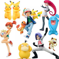Tomy Pikachu Garchomp Action Figures Toys Anime Collectible Model Kids Gifts
