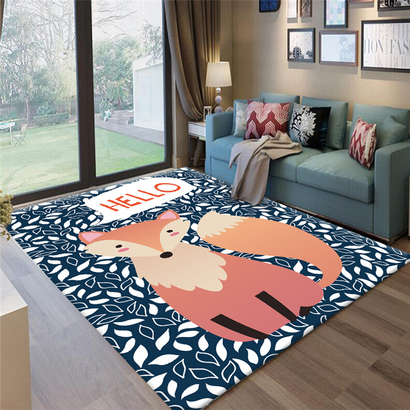 Fashion Cartoon Fox Pattern Children Rugs Nordic Style Home Carpets For Living Room Kids Room Play Crawl Floor Mats Tapete Tapis