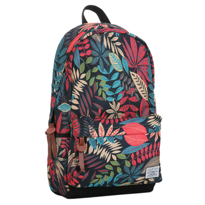 Japanese Harajuku print tide brand backpack retro leaves Korean female shoulder bag student bag computer bag