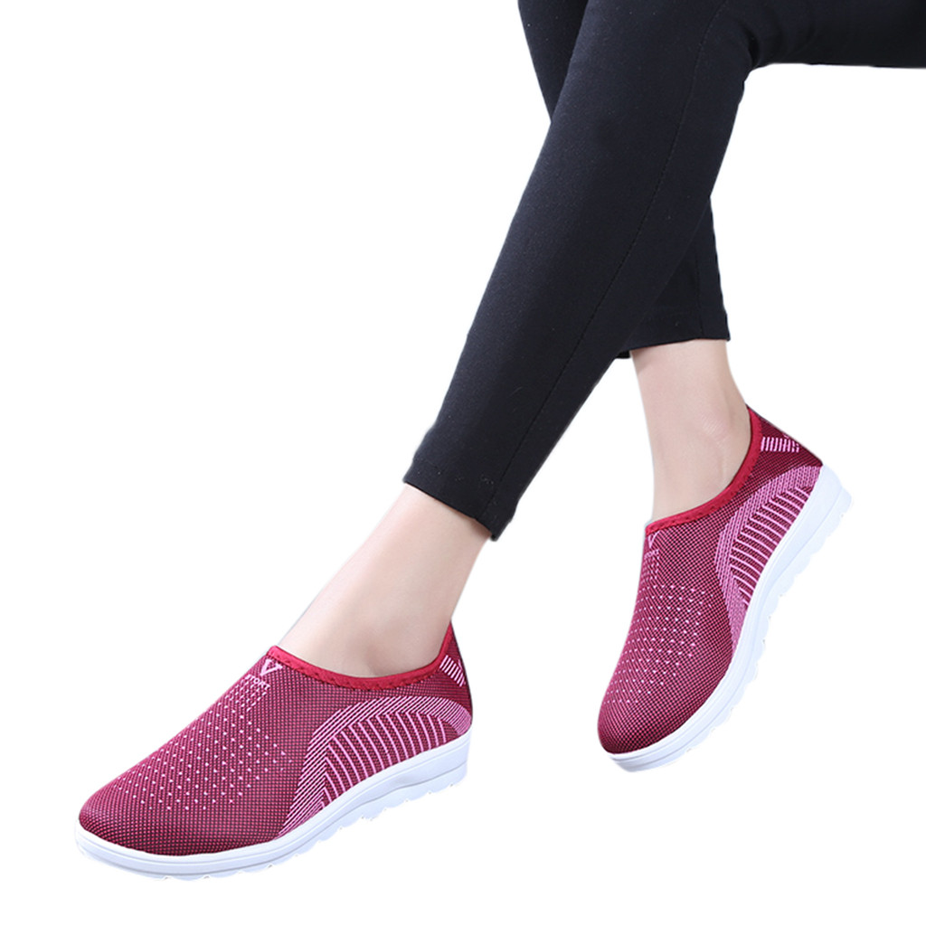 HTB1W GNadfvK1RjSszhq6AcGFXaM MUQGEW Women's Mesh Flat shoes patchwork slip on Cotton Casual shoes for woman Walking Stripe Sneakers Loafers Soft Shoes zapato