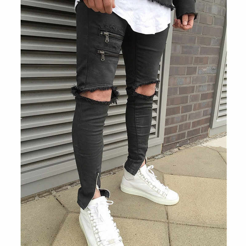 3acc8e31e2cbf Cool ripped zipper jeans for men skinny destroyed famous slim brand  designer hip hop swag tyga