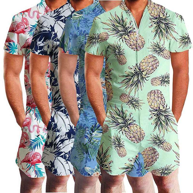 Oeak Fashion Men Short Sleeve Summer Casual Button Jumpsuit Overalls Casual Clothing 2019 New