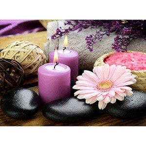 Image 4 - Daimond 그림 5D 전체 광장/라운드 불교 양초와 꽃 다이아몬드 페인팅 라인 석 크리스탈 크로스 스티치 모자이크 160QW