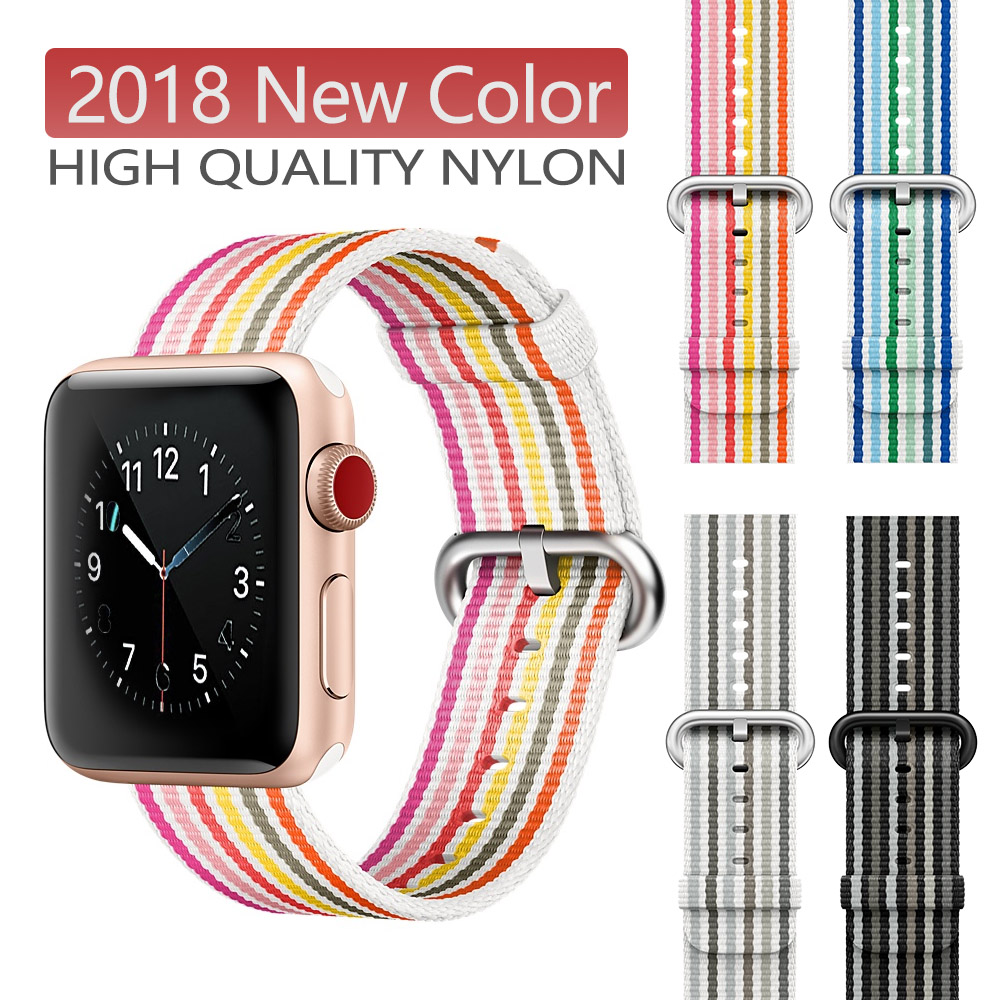 New Breathable Nylon Sport Loop Band for apple watch series 3 2 1 strap for iWatch 42MM 38 colorful watchband buckle