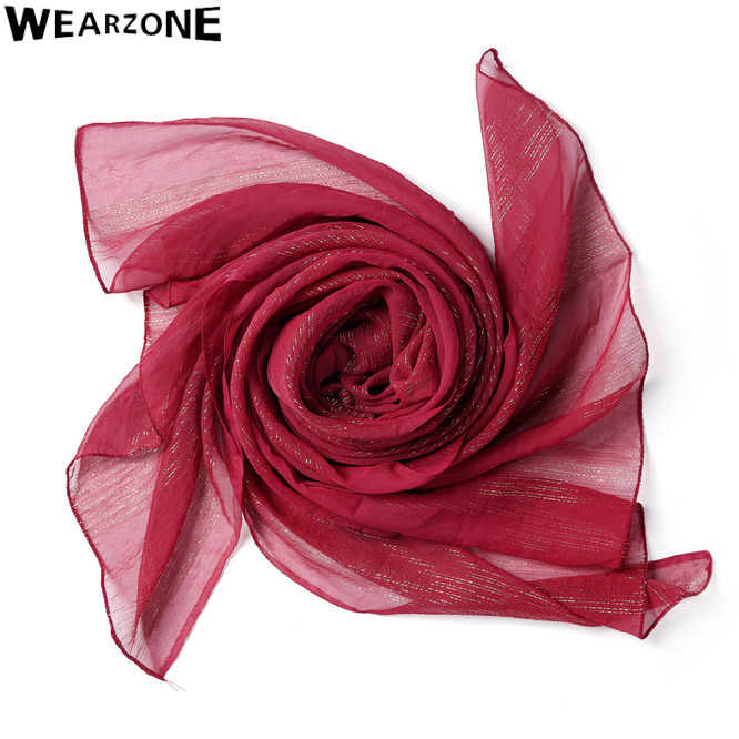 2016 Wearzone New Elegant Organza silk women scarf Gold Line Chiffon fashion Hijabs silk scarves shawls Tippet Muffler