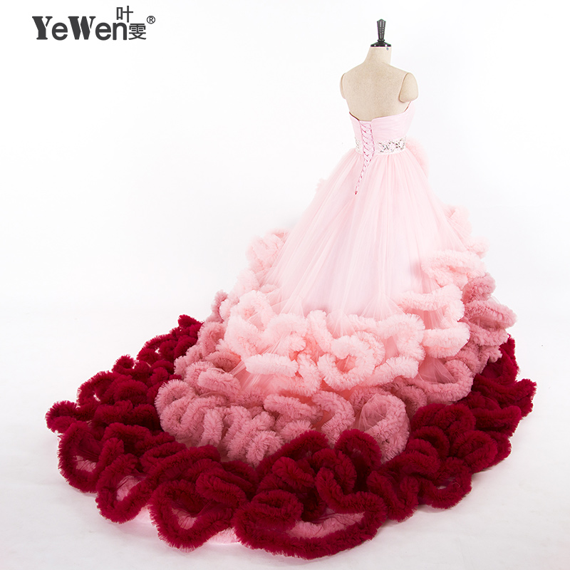 1 M Trem Real Photo Luxury Top Quality Ruffle Lace hoops até Nuvem Inchado Vestido de Noiva Vestidos de Noiva Robe De Mariage 2018