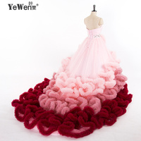 1M Train Real Photo Luxury Top Quality Ruffle Hoops Lace Up Cloud Puffy Wedding Dress Bridal
