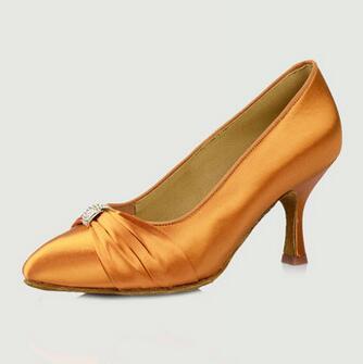 Professional Women Latin Dance Shoes Satin Diamond Ballroom Dance Shoes Girls 3 High Heel Tango Shoes 169 Free Shipping