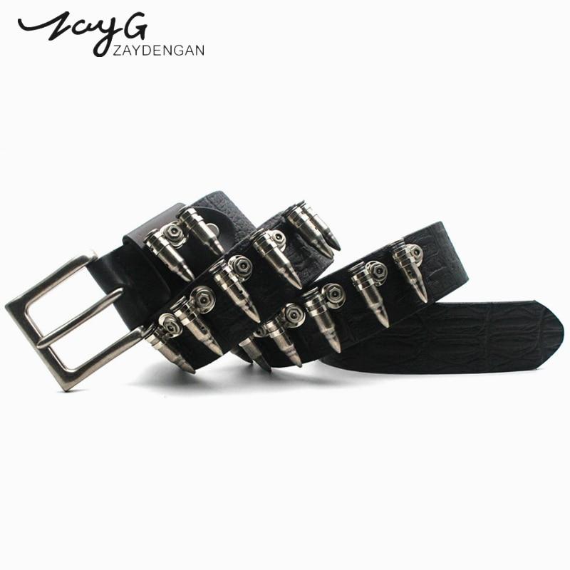 ZAYG Fashion brand punk bullet inlay belt women men belts harajuku high quality designer Mens belts