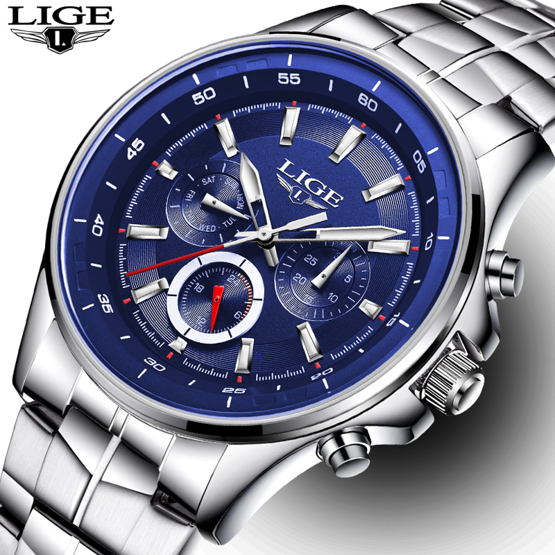 LIGE Watch Men Business Waterproof Clock Mens Watches Top Brand Luxury Fashion Casual Sport Quartz Wristwatch Relogio Masculino lige mens watches top brand luxury man fashion business quartz watch men sport full steel waterproof clock erkek kol saati box