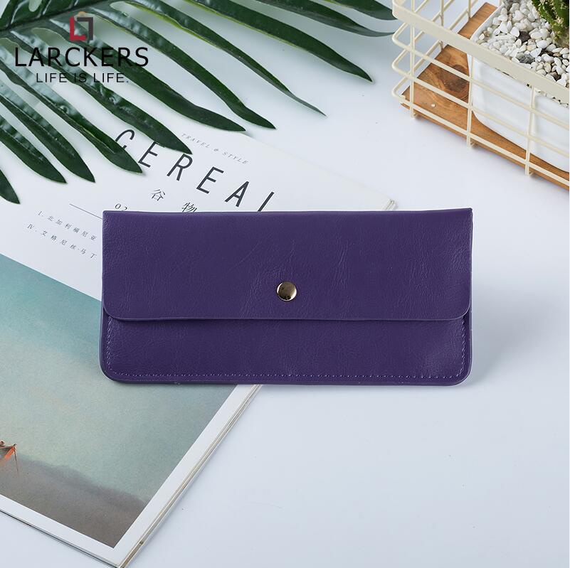 Тонкий женский кошелек из лакированной кожи с молнией сзади, длинный клатч, Модный женский кошелек, держатель для карт, женский кошелек - Цвет: Фиолетовый