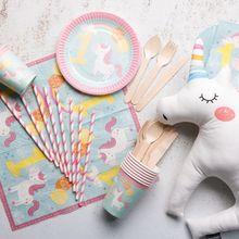 68Pcs Unicorn Party Disposable Tableware Sets Straws Plates Cups Napkins Birthday Party Decorations Kids Wedding Decoration