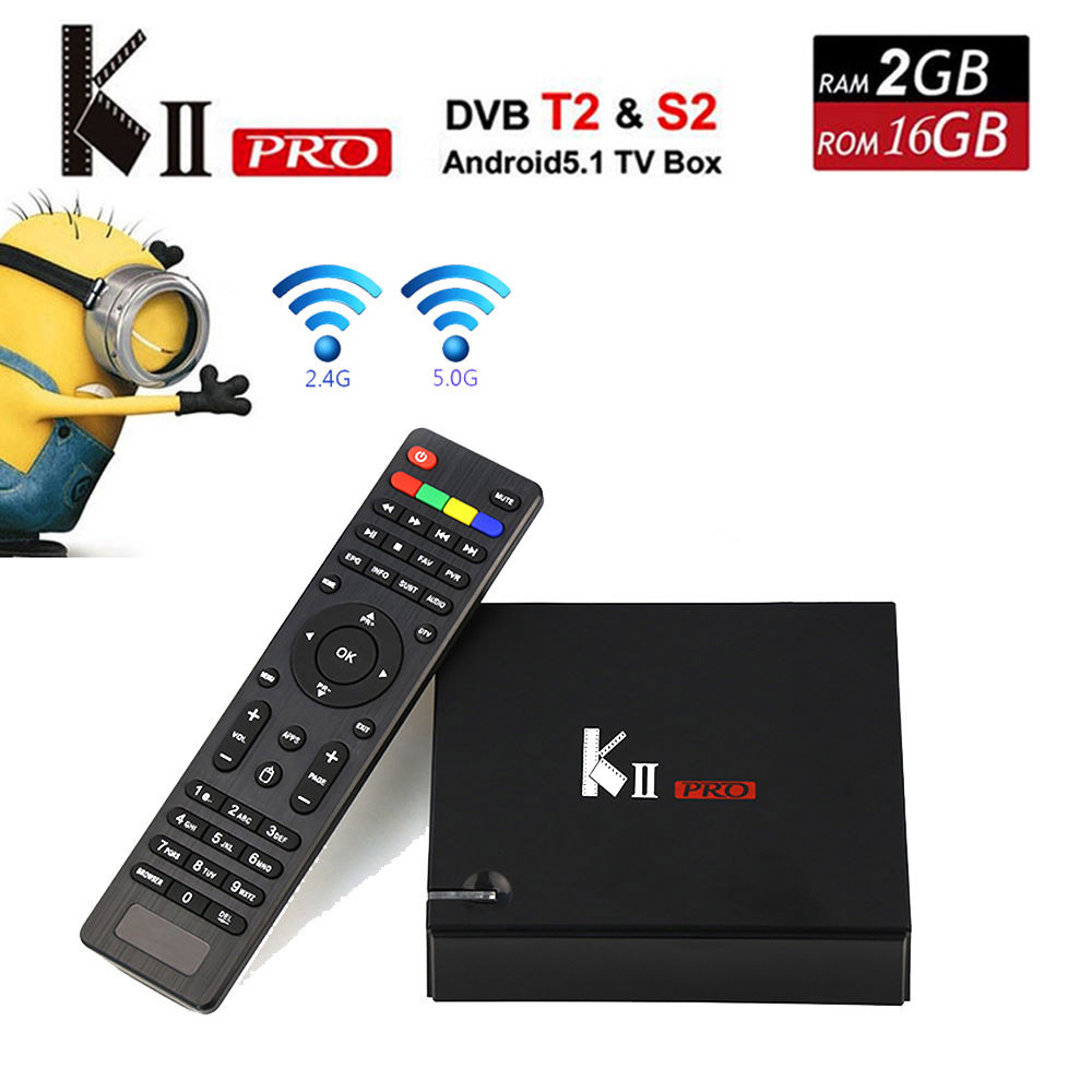 10pcs KII Pro 2GB/16GB DVB S2+T2 7.1 Android TV Box Amlogic S905D Quad-core Support DVB-S2/ DVB-T2 Smart Media Player