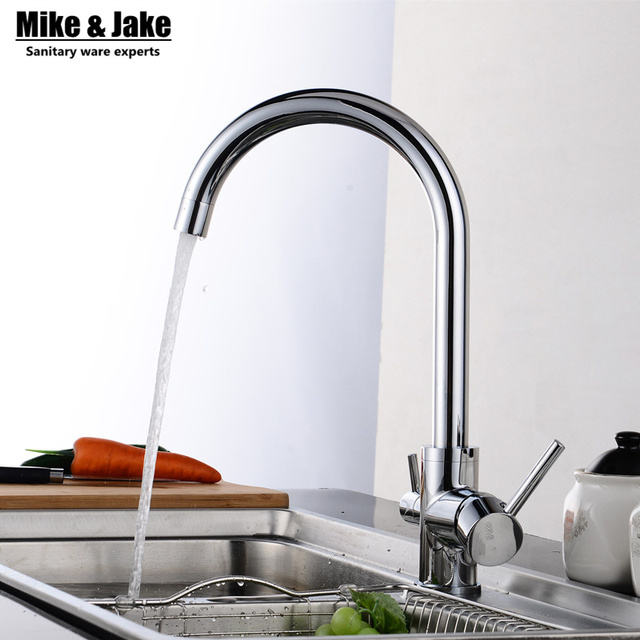 Solid Brass Chrome Water Kitchen Faucet 3 Way Double Function ...