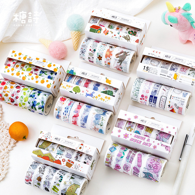 5 unids/lote Mohamm Washi cinta Set papel añadir sal serie papelería Scrapbooking cinta adhesiva flor decoración suministros escolares
