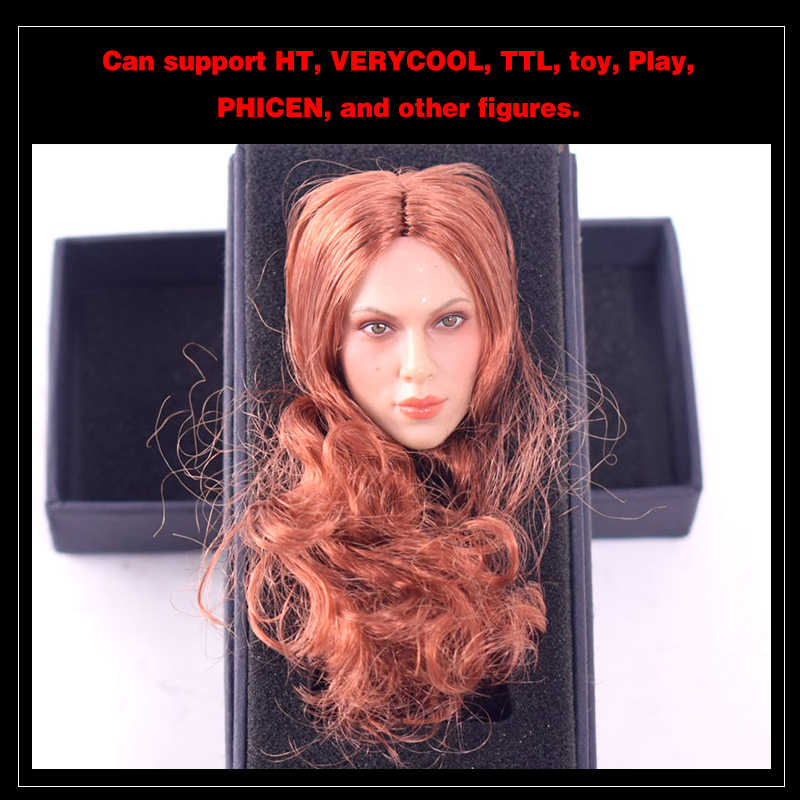 ... GACTOYS GC002 Black Widow Scarlett Johansson Long Red Brown Hair Women s  Head Sculpture Model 1  ... 42168de661f9