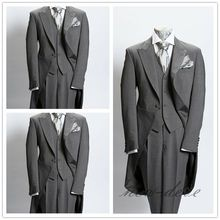 Dim Gray Trim 3Pcs Mens Suits With Tail Coat Slim Fit 40r 42r 44r 46r Custom
