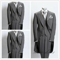 Dim Gray Trim 3Pcs Men's Suits With Tail Coat Slim Fit 40r 42r 44r 46r Custom