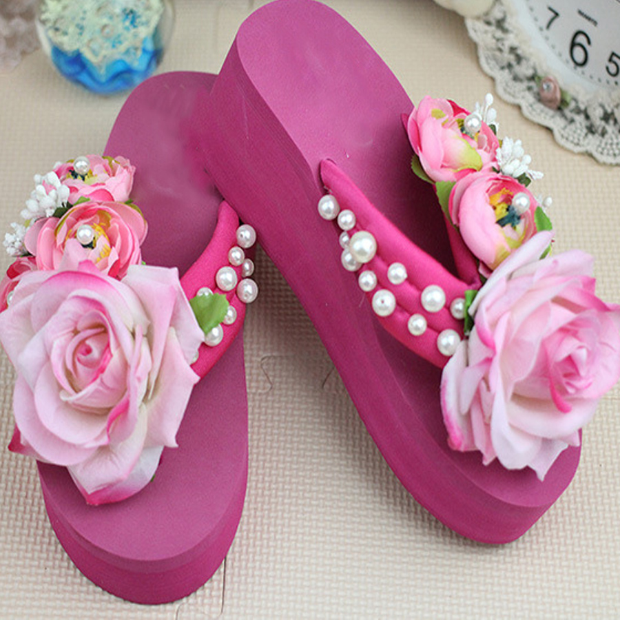a8431a060cae2 New summer time fashion women handmade Flower thick bottom flip flops  casual comfortable wedges beach holiday slippers hot sale-in Slippers from  Shoes on ...