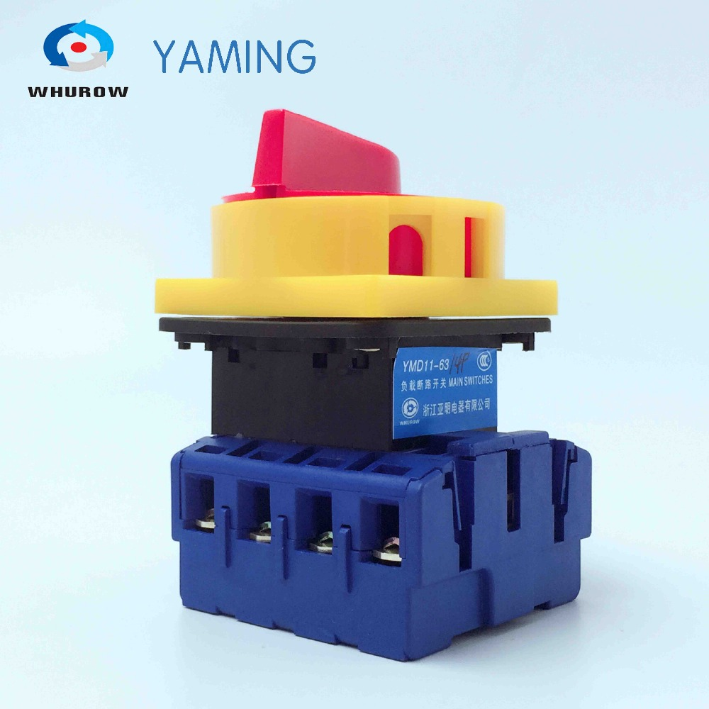 Yaming Load break isolator switch with padlock panel 63A 4 Phases 2 position on-off Changeover rotary switch YMD11-63A/4P load circuit breaker switch ac ui 660v ith 100a on off 3 poles 3 phases 3no 2 position universal rotary cam changeover switch