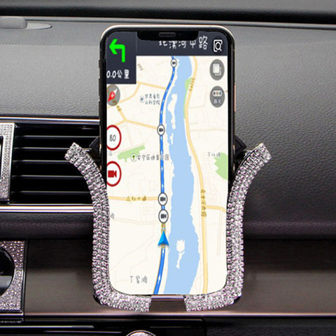 Rhinestones Crystal Car Phone Holder Air Outlet Vent Support Phone Diamond Clip Universal Smart Phone Stand Interior Accessories Lahore