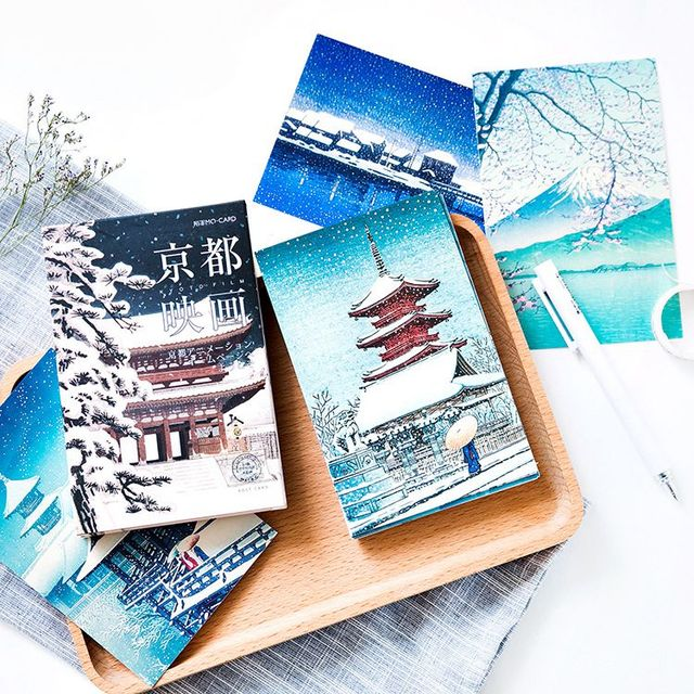 Snowy Japan Vintage Post Cards Set 14 3 9 3cm Diy Paper Bookmark