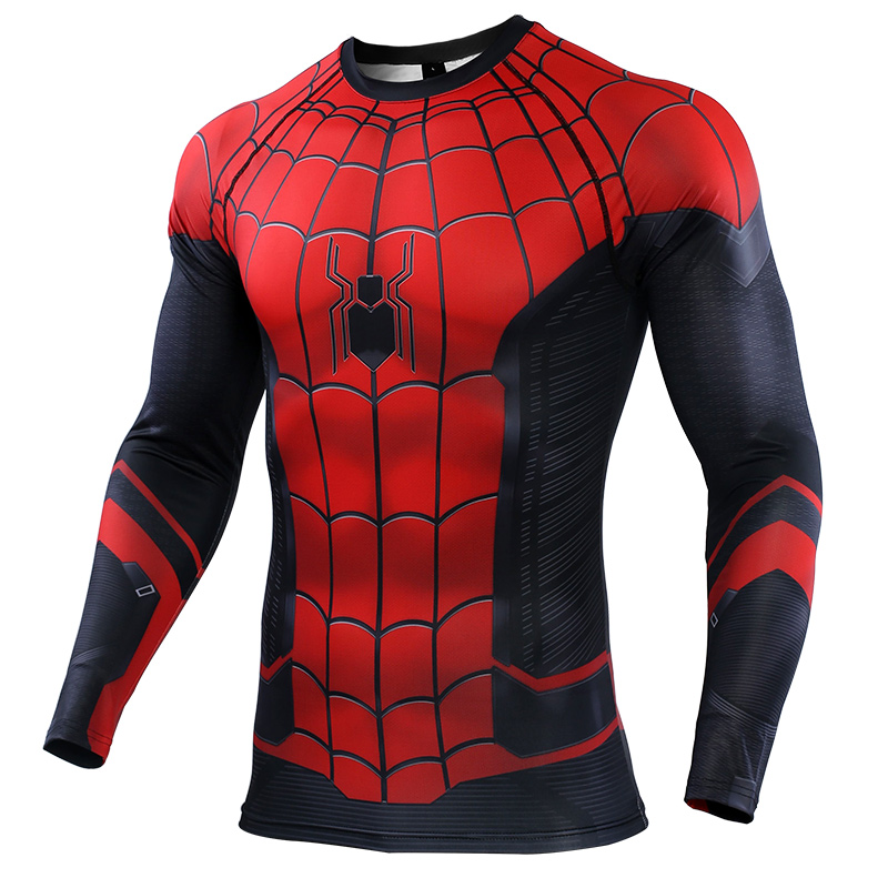 New 2019 Marvel Movie Spiderman Far From Home 3D Print Long Sleeve T Shirt Men Fashion Summer Compression Men T-Shirt Tops Tees
