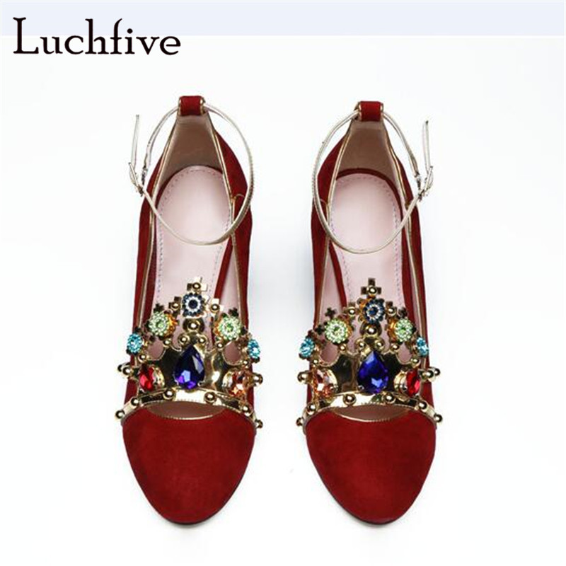 New rhinestone women sandals classic ankle buckle strap round toe ladies shoes sexy chunky high heels kid suede summer red new fashion rivet hollowed out women sandals round toe chunky high heels ankle buckle female sandals mesh ladies leisure shoes