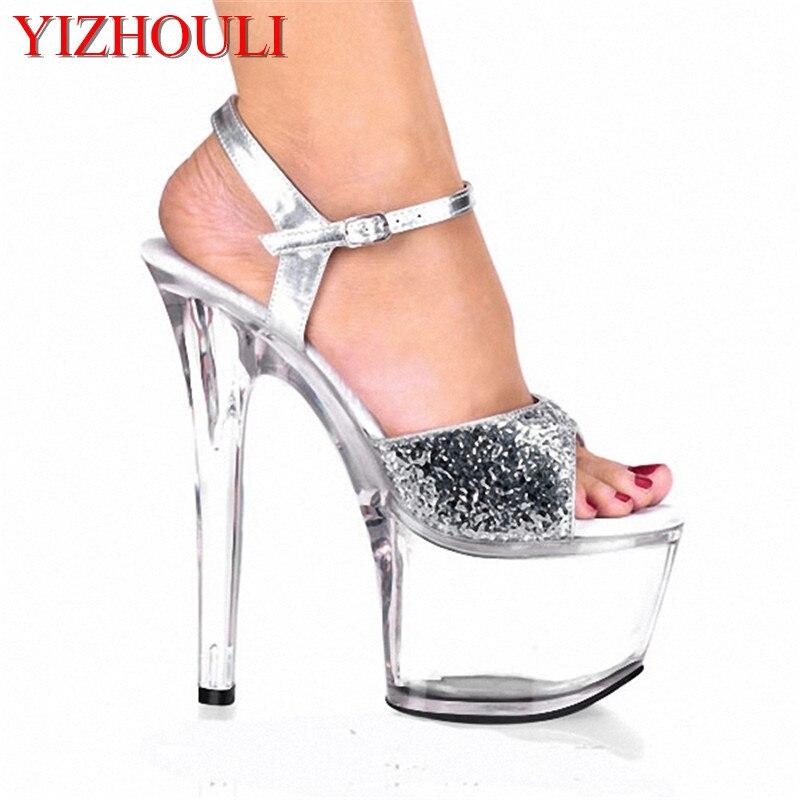 Alto Zapatos Cristal Cm 7 Ultra Talón De Dama Sandalias Moda Novia Brillo  Boda Tacón 17 ... 07ac85c3d3df