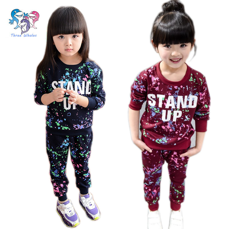 075081c28b70 Autumn Kids Sweat Suits Letter Kids Brand Jogging Suits Girls Sport Suit  Toddler Girl Outfits Girls