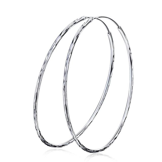 925 Sterling Silver Jewelry Hoop Earrings Annular Huge Size Diameter 60mm S Women Female Gift