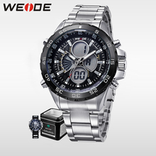 WEIDE Genuine Quartz Watch stainless steel Analog Digital LCD Display Sport Watch Alarm water resistant Military Men Watch цена