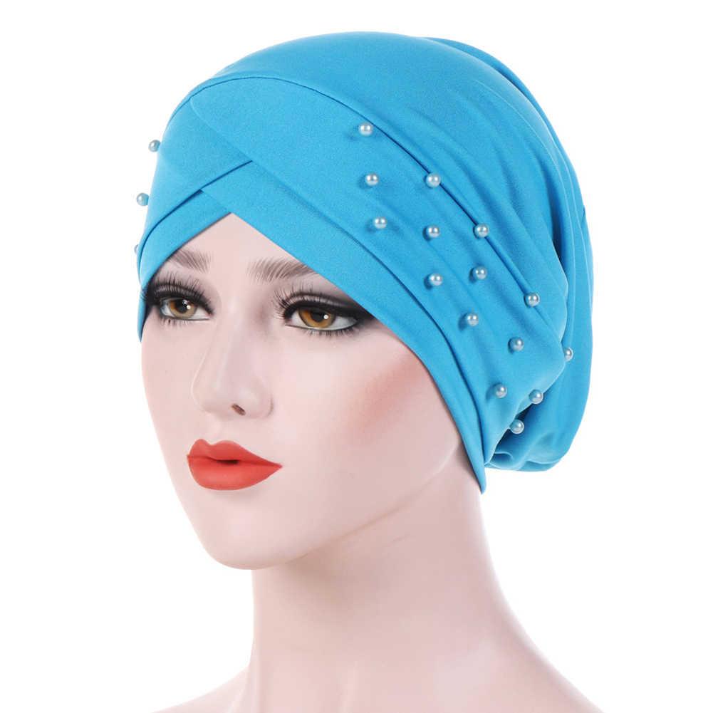 Mütze Hijab Wickel Krebs Dame Chemo Kopfbedeckungen Mode Frauen Perlen