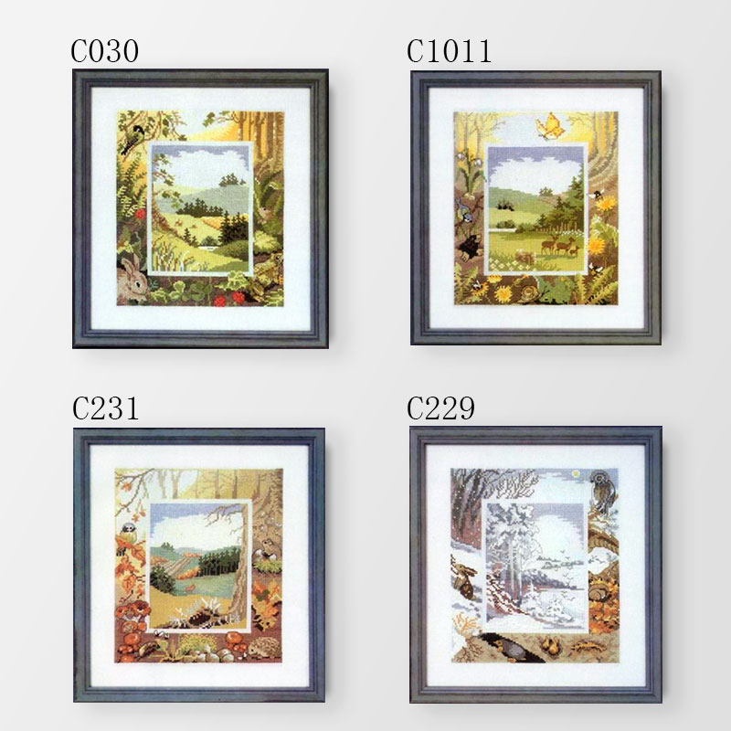 Fishxx Cross Stitch Kit C030-1011 Forest Four Seasons Landscape Woods Flowers And Small Animal Patterns