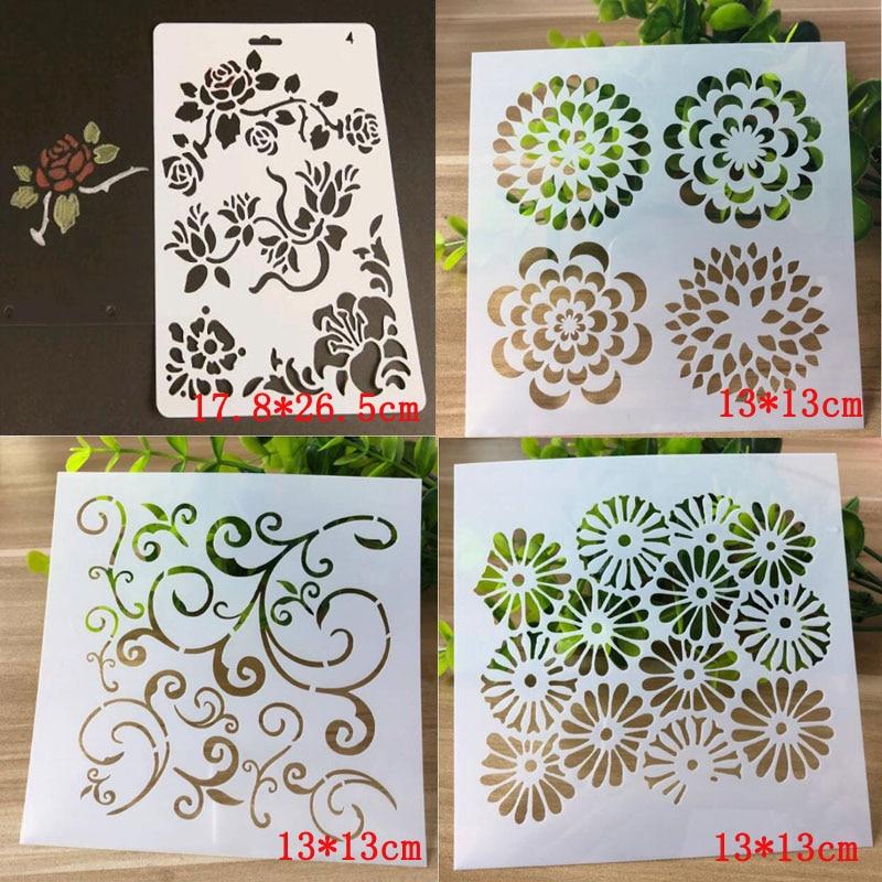 4pc Mesh Stencil Reusable Plastic Template DIY Stencils Scrapbooking Album Stencil Drawing Painting Pochoirs Enfant Plastique