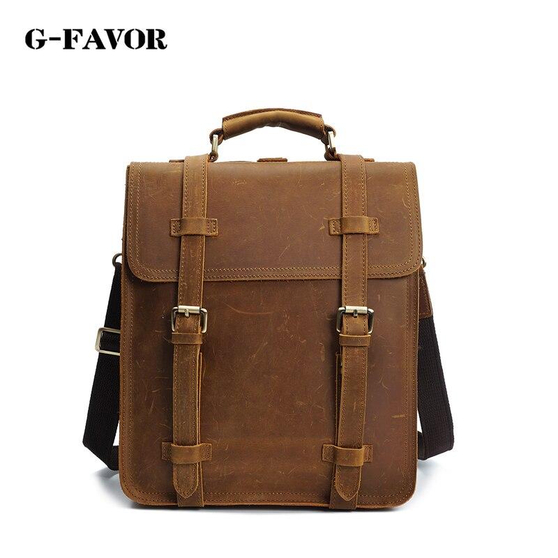 100% Genuine Leather Men Bag Crazy Horse Leather Men's Backpack Business Casual Travel Laptop Bag Vintage school backpack цена