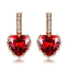 Red AAA Zirconia Heart-shaped stud earrings yellow gold color vintage wedding women bijoux Accessories wholesale MYE014