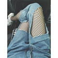 Womens Ladies Faded Ripped Casual Fit Cool Denim Cotton Jeans Plus Size Personality Irregular Jeans Gift Fishnet Socks MZ1404