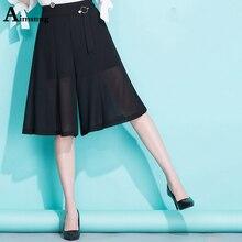 цены Plus size S-5XL New Wave point High waist Chiffon Summer Women Pants Knee length Elastic waist Ladies Loose thin wide-leg pants